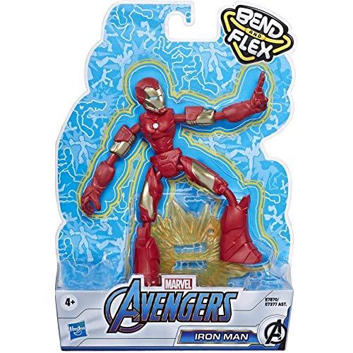 Hasbro Avengers Bend And Flex, Action Figure Flessibile di Iron Man da 15 cm, Include l'accessorio Blast, dai 6 Anni in su, E78705X2