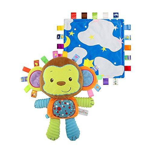INCHANT suave Monkey Tag juguete y Seguridad Manta - Manta colorida Taggy juguete incorporado Campana, juguetes blandos mejor para el bebé, del niño y del niño