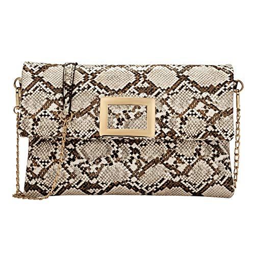 Damen-Handtasche aus Schlangenleder, Retro-Design, Clutch, Umhängetasche, Umhängetasche