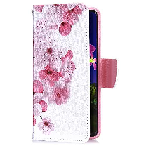 Uposao Kompatibel mit Xiaomi Mi 8 Lite Handyhülle Leder Tasche Lederhülle Retro Bunt 3D Muster Schutzhülle Bookstyle Flip Case Wallet Cover Ständer Kartenfach Klapphülle,Rosa Blumen