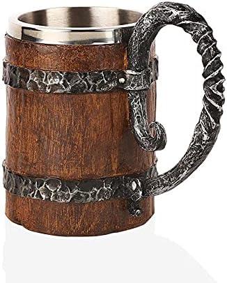 Niocaa Wooden Beer Mug Handmade Regular dealer Retro Stainless Some reservation Barrel 18oz Mugs