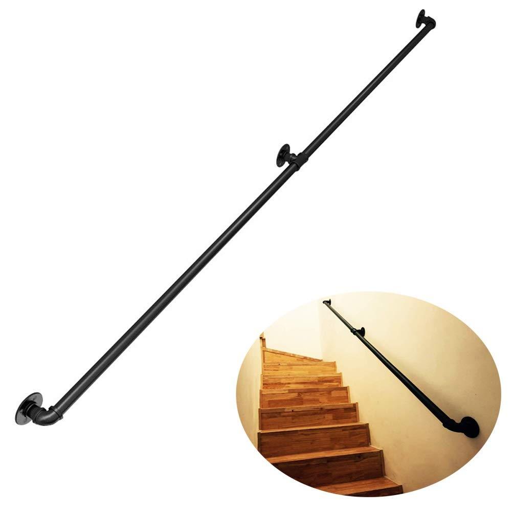 Ronda Negro Barandilla Escalera con kit completo |Entablado Barandas for interiores y exteriores |Escaleras pasamanos |Mango escalera |Jardín Balcón Baranda (30-300cm) AAA++++ (Size : 30cm): Amazon.es: Bricolaje y herramientas