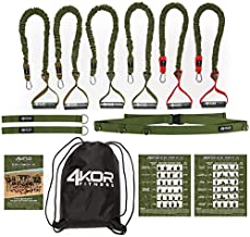Resistance Cord Set by 4KOR Fitness, Strength and Performance System (3 Levels w/Door Strap)