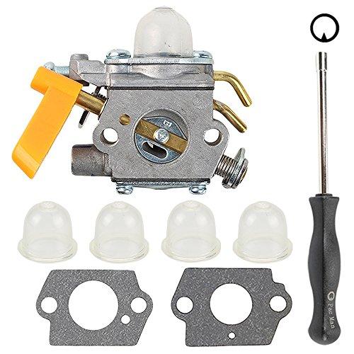 Butom C1U-H60 Carburetor with Gasket Adjustment Tool Primer Bulb for 25cc 26cc 30cc Ryobi Homelite String Trimmer Brush Cutter Blower 308054013 308054012 308054004 308054008 308054077