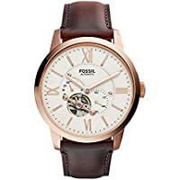 Fossil Men's Townsman Automatic Stainless Steel Mechanical Watch (Rose Gold, Brown)