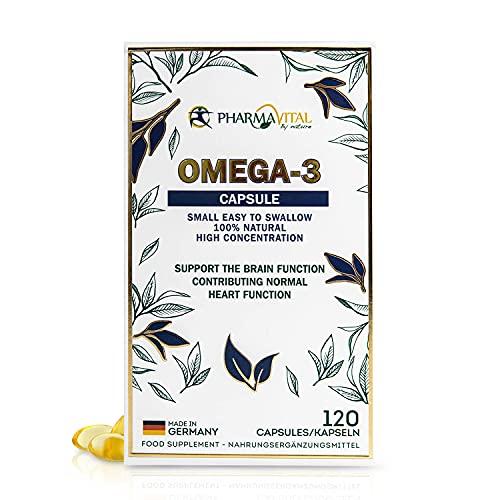 Pharmavital Omega 3 Kapseln hochdosiert aus Deutschland (120 Stück) mit 1000mg Fisch-Öl pro Tagesdosis sowie 500mg EPA und 250mg DHA