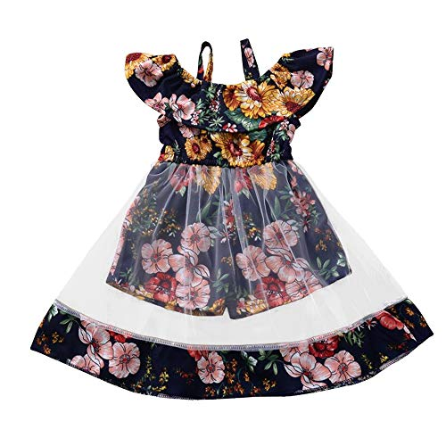YOUNGER TREE Toddler Girl Floral Dress Strap Off Shoulder Jumpsuits Short Playsuits Mesh Dress Kids Clothes Outfits Summer (3-4 Years, Floral Playsuits mesh Dress)