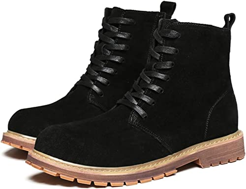 Shuo lan hu wai Bottines Mode pour Hommes Casual Classic Comfort High Haut Bottes Martin,Chaussures de Cricket (Couleur   Warm noir, Taille   41 EU)