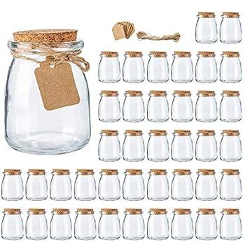 Glass Jars Brajttt Mini Yogurt Jars 40 Pack 7 oz Glass Favor Jars with Cork Lids Pudding jars Glass Containers with Lids Mason Jars Wedding Favors Honey Pot with Label Tags and String