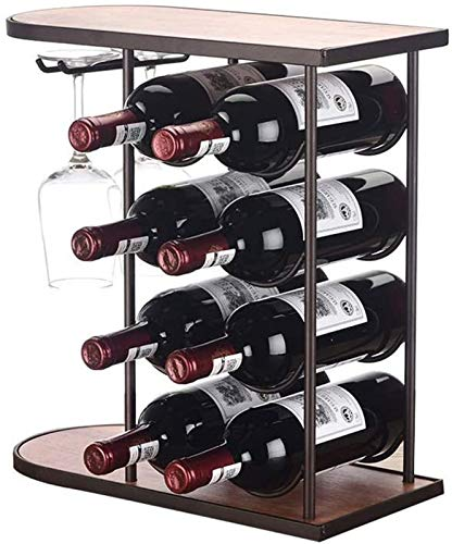 Estantería de vino Estante de vino del estante de vino, 4 capas de adornos de rack de vino apilable - estante europeo de vino invertido de hierro forjado - 8 botellas y 2 tazas, 42 * 40 * 18.5 cm de a