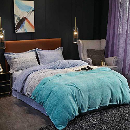 SiNan Melk Fluwelen Beddengoed Set Van Vier Verdikking Falais Quilt Cover Molton Lakens 1.8M Bed Eenvoudige 4-delige Set Vierdelige set 1.5-1.8 m bed/stijl tijd blauw
