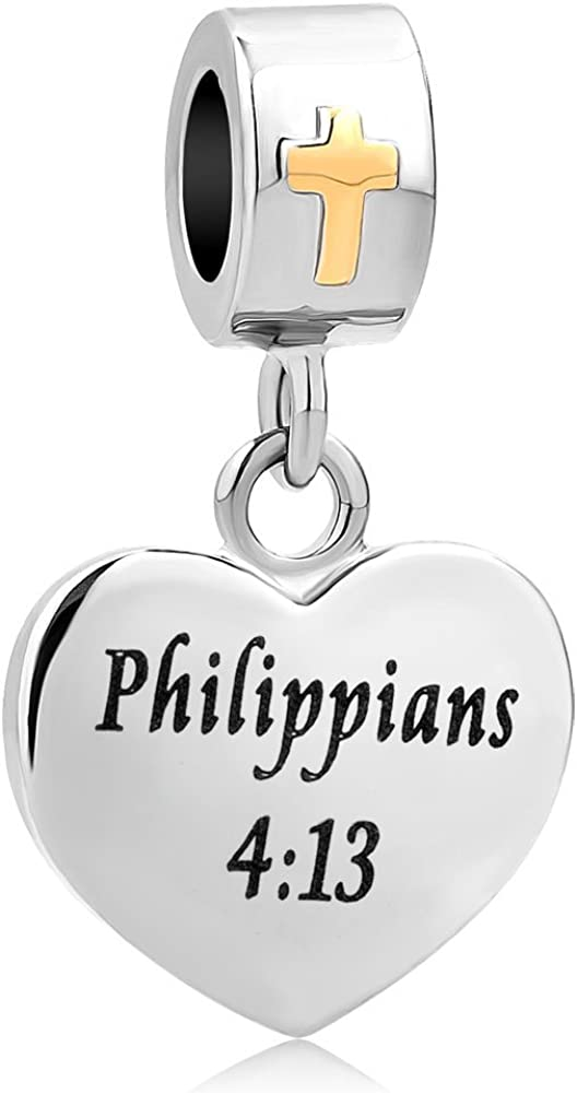 SexyMandala Cross Charm with God All Things are Possible Religious Dangle Bead Fits European Bracelets Holy Bible Religious Christian