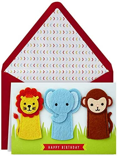 Hallmark Signature Birthday Card with Removable Finger Puppets for Kids Jungle Animals product image