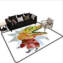 Carpet Next to The Sofa Reptiles,Multi Colored Mosaic Wild Trex Illustration Opens Mouth Jurassic Pixel Dinosaur Home Decor,Multi