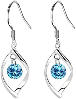 Plated Sterling Silver Classic Linear Loop Twisted Wave Drop Dangle Earrings for Women, Girls