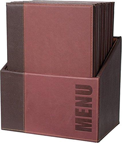 Securit Trendy Range Menükartenbox mit 20 Karten im A4-Format, je 1 doppelseitiger Einleger, Weinrot