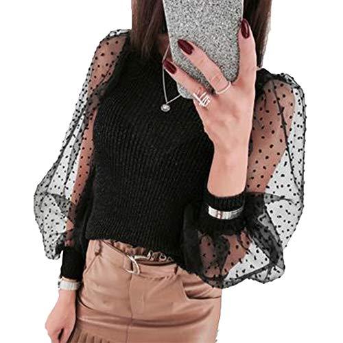 LIKEVER Blusa de malla para mujer, con mangas transparentes, de punto Negro Negro ( XL