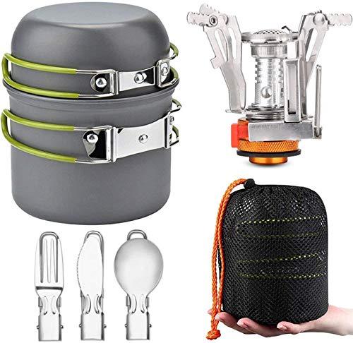 Kit de cacerolas para camping y estufa de camping y utensilios completos para camping, picnic, barbacoa, senderismo, pedestre de 1 a 2 personas