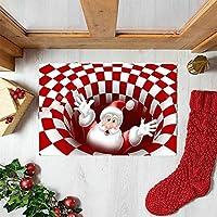 クリスJUYANマス3dイリュージョンドアマット-レッドグリンチイリュージョンドアマット、グリンチイリュージョンクリスマスドアマットギフトクリスマス家の装飾2020 (80x120cm, サンタクロース)