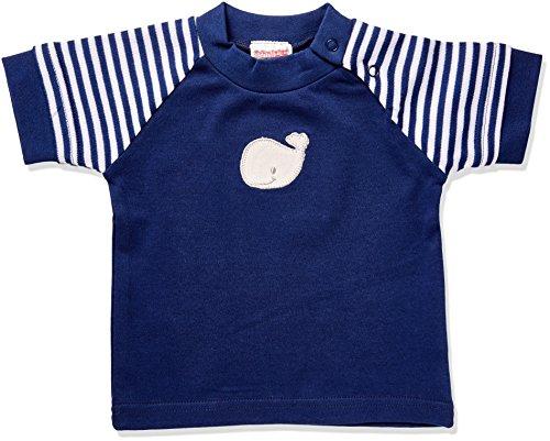 Schnizler Wal, Marine geringelt, Oeko-Tex Standard 100, T-Shirt Mixte bébé, Bleu (Marine/weiß), 56