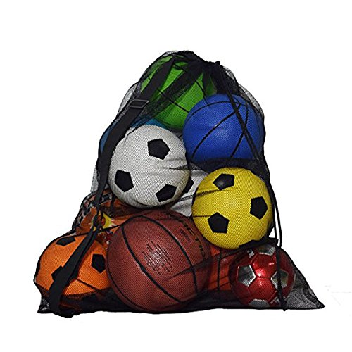 robinlu Balltasche Netz Netzbeutel Tasche, Große Strandspielzeug Aufbewahrung mit Schultergurt für 15 Fußbälle Ballsack Volleyball Handball Basketball Softball (100 x 72CM)-Schwarz