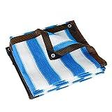 AWSAD Velas de Sombra Lona Toldo Exterior Rayas Azules y Blancas Anti-UV HDPE Jardín Piscina Red de Sombra Planta Suculenta con Ojales Red de Sombreado (Color : A, Size : 2x1m)