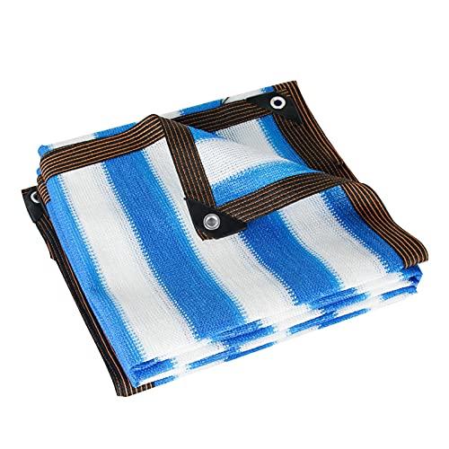 AWSAD Velas de Sombra Lona Toldo Exterior Rayas Azules y Blancas Anti-UV HDPE Jardín Piscina Red de Sombra Planta Suculenta con Ojales Red de Sombreado (Color : A, Size : 8x10m)