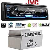 Autoradio Radio JVC KD-X151 | MP3 | USB | Android 4x50Watt - Einbauzubehör - Einbauset für VW Golf 3 III - JUST SOUND best choice for caraudio
