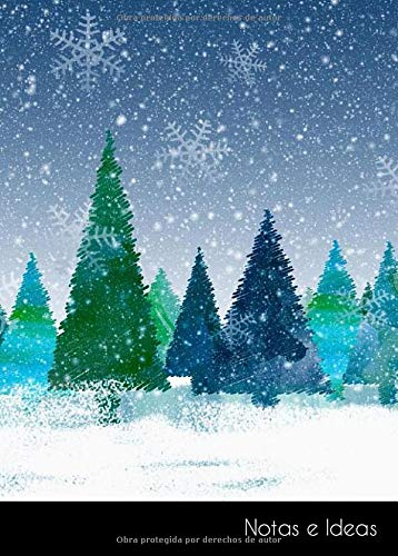 Notas e Ideas: Cuaderno / libro de dibujo pequeño navidad invierno abeto...