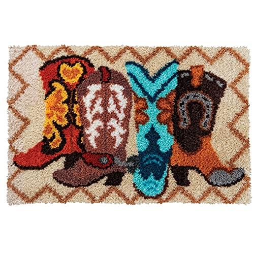 Kits de fabricación de alfombras,Kit de Bordado, Kit De Ganchos Cierre Alfombra Grande Nudo para Adultos Alfombra Nudos Patrones Hacerlo Usted Mismo Alfombra Sala Estar,A
