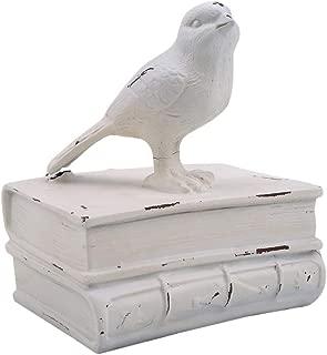 NIKOLay Vintage Birds Books Bookends Antique Bookshelf Tabletop Heavy Duty Bookend Support Desktop Decoration,White