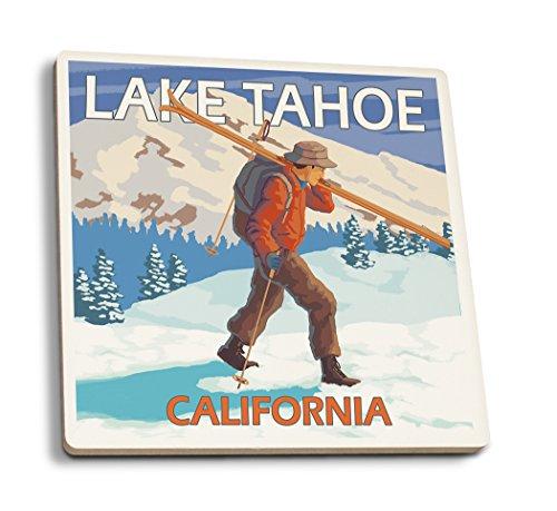 Lantern Press Lake Tahoe, California - Skier Carrying Snow Skis (Set of 4 Ceramic Coasters - Cork-Backed, Absorbent)
