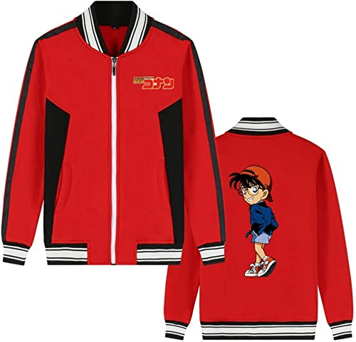 Détective Conan Anime Bomber Veste Collège Baseball Vestes Cosplay Costume Fermeture à Glissière Sweat Manteau voituredigan (Couleur   rouge 6, Taille   XS)