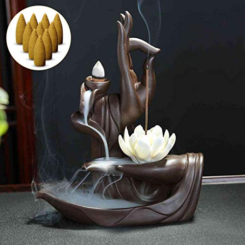 Räucherstäbchenhalter, Räuchergefäß Buddha Räucherstäbchenbrenner Keramik-Räucherkegel Brenner Räucherstäbchenhalter Rückfluss-Räuchergefäß Home Decoration Bastelgeschenk 10 kostenlosen Zapfen Lotus