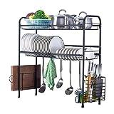 JPL Scaffale di stoccaggio della cucina della famiglia, Scaffale di asciugatura del piatto sul lavandino, Scaffale di esposizione scolapiatti in acciaio inox 2 livelli, Organizzatore di stoviglie da
