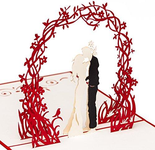PrimePopUp | Liebeskarte | Paar unter Blumenkranz | 3D Pop Up Karte | besondere Hochzeitskarte | Geschenk für Freundin Freund | Geburtstagskarte | Ich liebe Dich Karte für Sie & Ihn