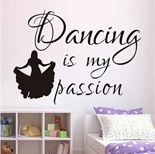 Dansen ist mijn passie muursticker kinderen lijm vinyl behang meisjes silhouet muurschildering baby meisjes jongen kamer kinderkamer decoratie 79 * 58 cm
