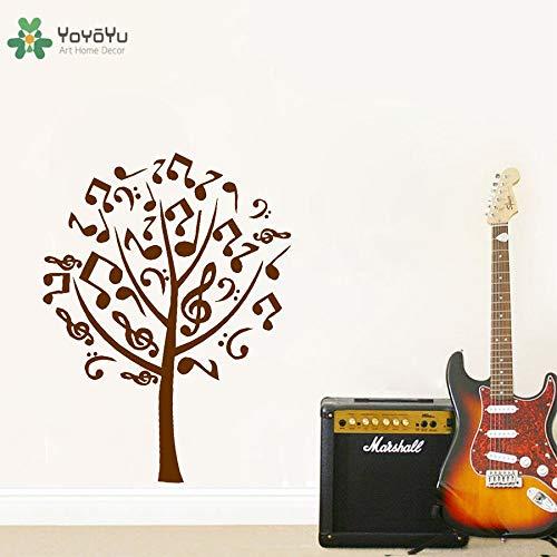 Vinyl muur sticker notities componeren muziek boom plant minimalistische kunstenaar thuis spiegel decoratie sticker 42x56cm
