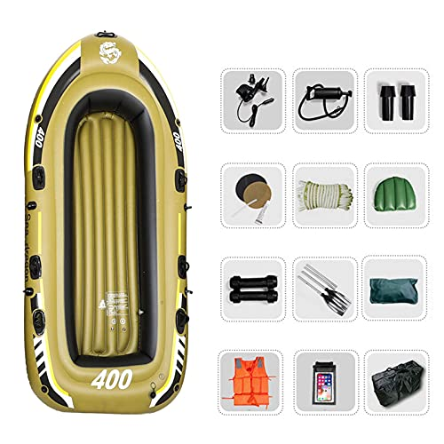 WBJLG 3 Person Inflatable Boat Canoe Set, Portable Kayak raft Inflatable Kayak Adults and Child Fishing Boat