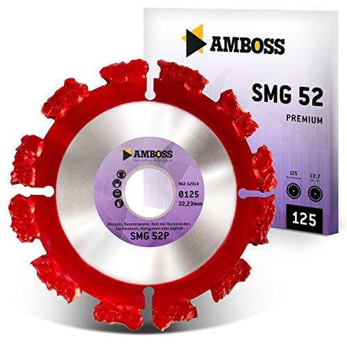 Amboss SMG 52P - Trennscheibe - Wurzeln/Baumstämme/Holz mit Rückständen/Dachbahnen/Hartgummi/Asphalt | Segmente aus Wolframkarbid (Ø 125 mm x 22,2 mm)
