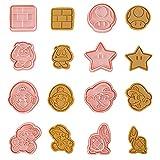 Super Mario juego de cortadores de galletas, 8 moldes pequeños para galletas de chocolate en relieve, cortar masa de hojaldre, corteza de tarta, cortador de formas de 3D para decoración de tartas
