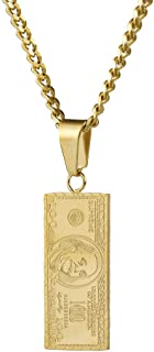 Hip Hop Stainless Steel Dollar Bill Tag Pendant Necklace