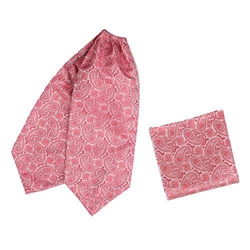 Hot Pink Silk Patterns Ascot Tie Handkerchief Set Formal Wear Fashion Large Cravat Set By Epoint C.B.AQ.Q.016