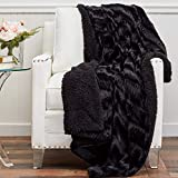 The Connecticut Home Company Soft Faux Fur with Sherpa Bed Throw Blanket, Many Colors, Fluffy Large Luxury Reversible Blankets, Fuzzy Washable Throws for Couch, Beds, Home Bedroom Decor, 65x50, Black
