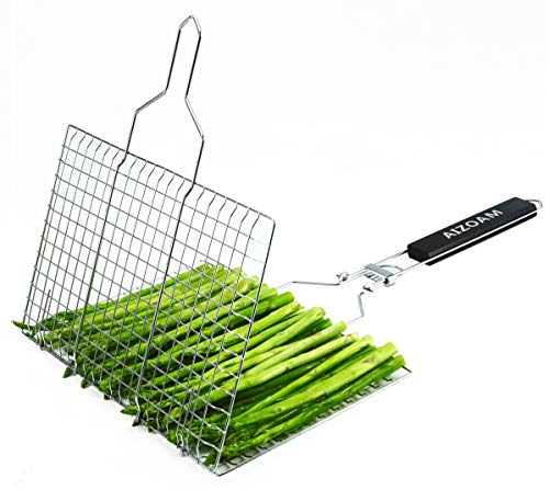 AIZOAM Portable Stainless Steel BBQ Barbecue Grilling Basket for Fish,Vegetables, Steak,Shrimp, Chops and Many Other Food .Great and Useful BBQ Tool.-【Bonus an Additional Sauce Brush】.