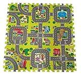 VLFit 9 Alfombrilla Puzzle Protectora de Espuma para niños y bebés con diseño de Rompecabezas en Forma de Circuito Urbano con 9 Piezas de 30 x 30 x1 cm