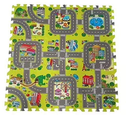 VLFit Tappeto Puzzle Bambini Motivo Città – Tappeto per Bambini con Strade 90 x 90cm – Tappeto Bambini Stile Puzzle da 9 Pieces at 30cm x 30cm x 1cm Giochi per Bambini