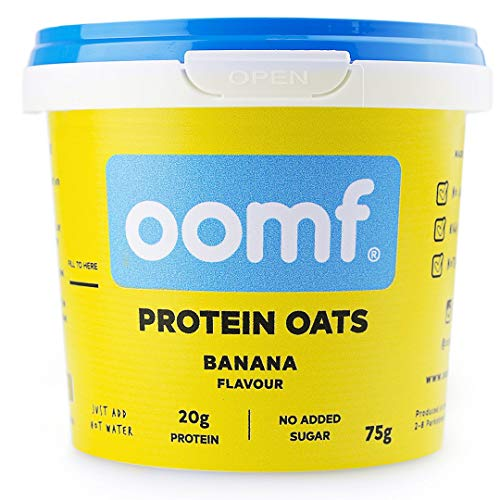 Oomf Whey Protein Porridge Instant Oats, 20 g Protein Per Pot, No Added Sugar, No Artificial Flavours or Ingredients, 75 g Per Pot, Banana Flavour, Pack of 8
