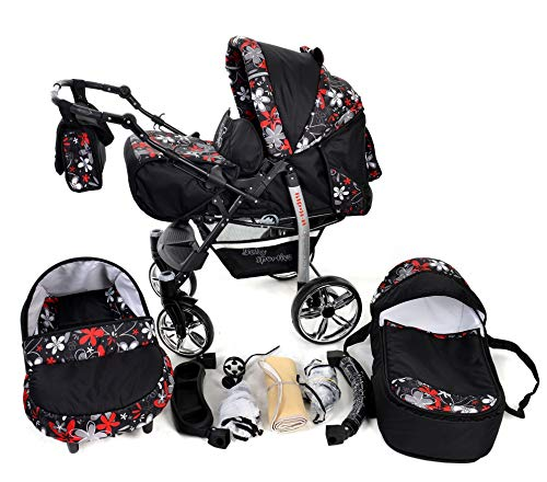 Sportive X2, 3-in-1 Travel System incl. Baby Pram with Swivel Wheels, Car Seat, Pushchair & Accessories (3-in-1 Travel System, Black & Small Flowers)