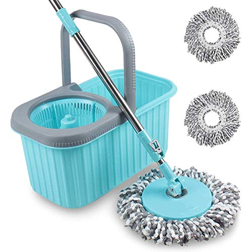 Smile mom Spin Mop and Bucket Set with Easy Wheels for Best 360 Degree Floor Cleaning and 2 Refill Head (Green)